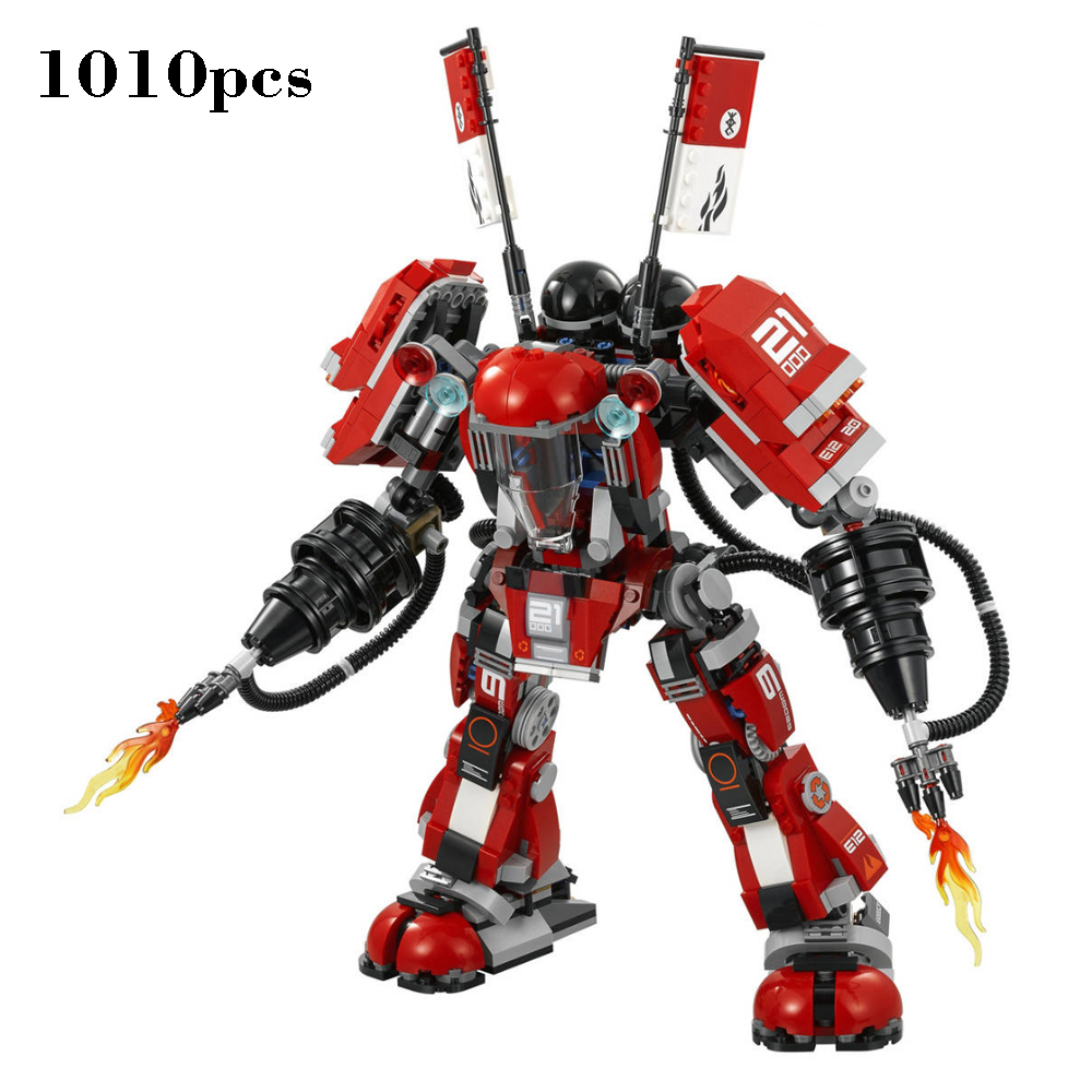 2017 Ninjagoinglys Movie Series Fire Mech Set with figure weapons building block brick toys for children gifts 70615 1010pcs