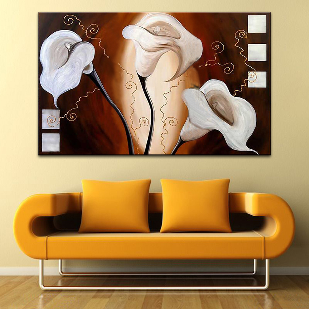 Retro Calla lily Oil Painting White Flowers Canvas Wall Art ...