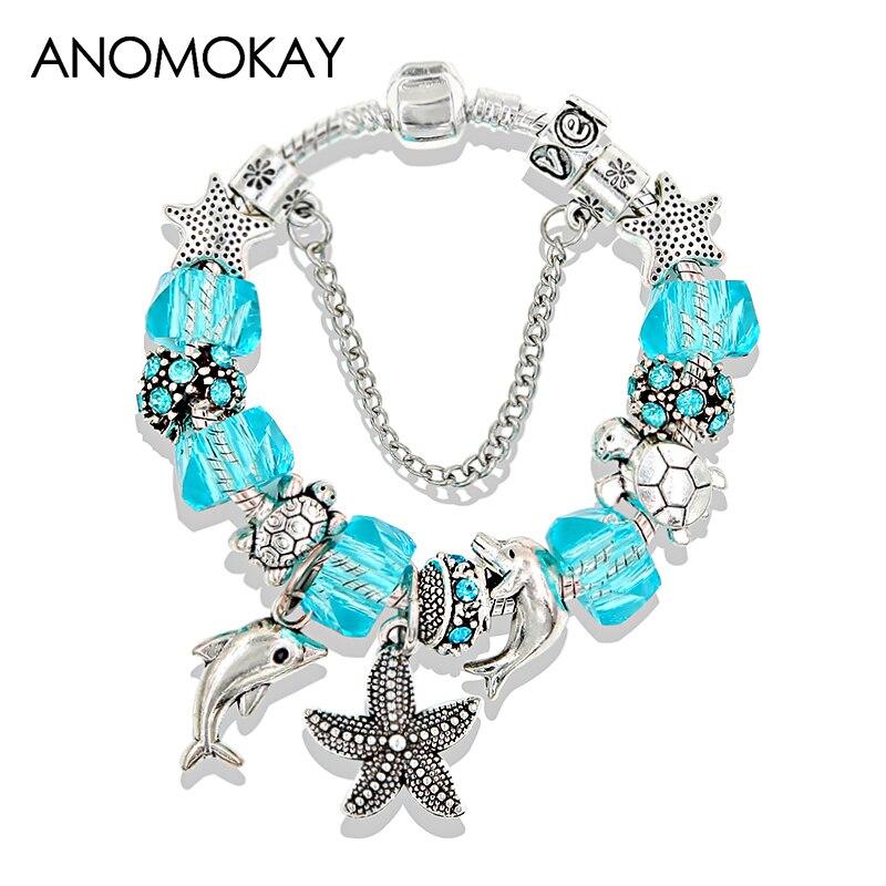 Dropshipping Silver Ocean Starfish Dolphin Bead Bracelet Crystal Charm P Bracelets & Bangles Fashion Jewelry Gift Pulseras
