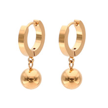 2019 New Punk Rose Gold Silver Color Stud Earring For Women Men Stainless Steel Simple Round Ball  Ear Clip Fashion Jewelry цена