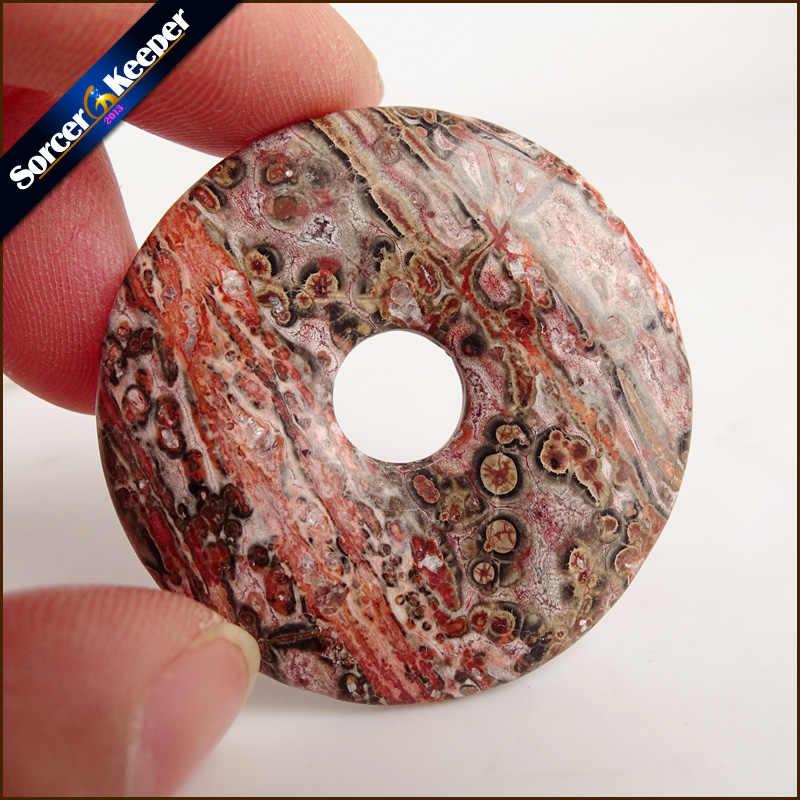 Forma redonda Donut Jaspers Natural Rainforest Pedra Moda Jóias Ágatas WS532 Ping Fivela Pingente de Colar Melhor Amigo Presente