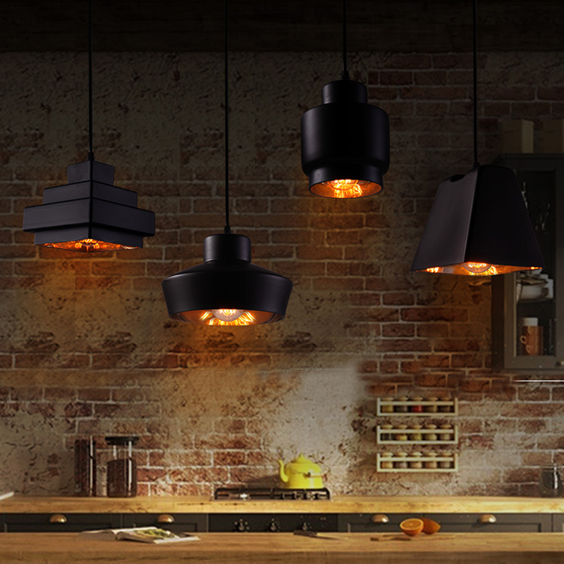 Black Glass Ball Pendant Light Vintage Rope Lamp Square Kitchen Retro Modern In Lights From