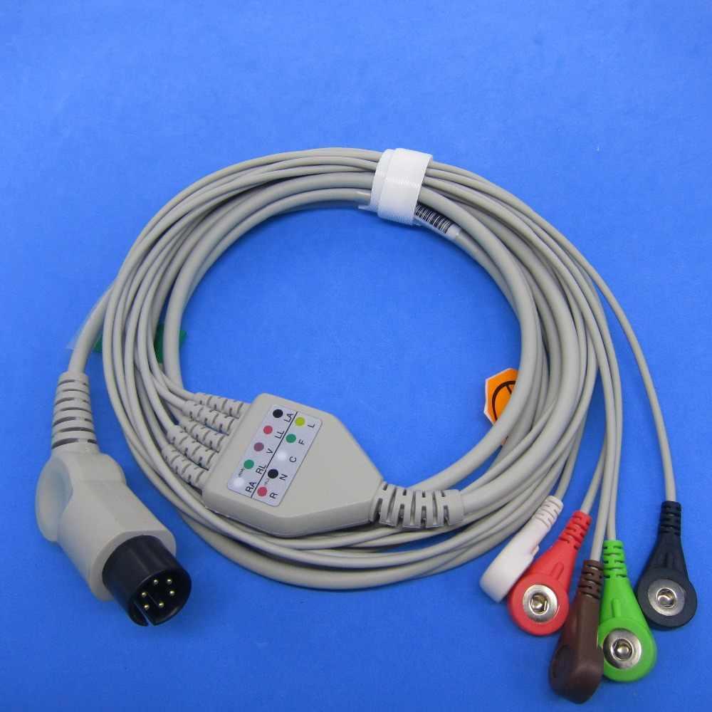 Cable ECG de una sola pieza con 5 cables SNAP compatible para monitor de paciente TRIUP TR6628-6000P