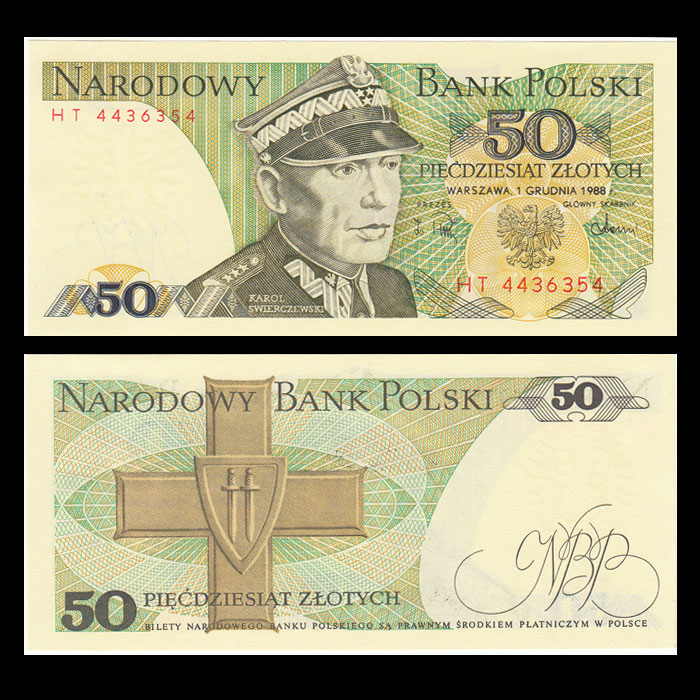 Poland 50 Zloty, 1988, P-142c, Banknotes, UNC, Uncirculated, Collection, Gift, Europe, Original Paper  Notes