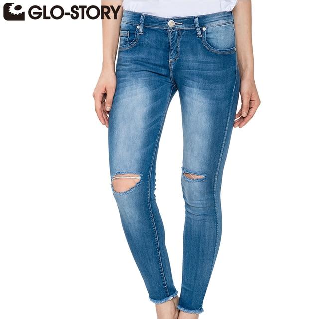 1c02811a98d90 GLO-STORY 2018 New Fashion High Street europejski styl talia Skinny Jeans  połowie przycisk latać długo Ripped spodnie Denim kobiet WNK-2120