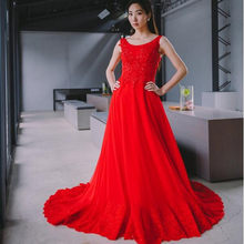 2018 Elegant Red Lace Ball Gown Prom dresses Sleeveless Beaded Appliques Gowns  Dress Prom Robe De Bal Longue be802ae568a2
