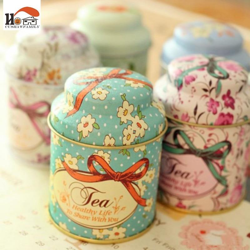 CUSHAWFAMILY Europa typ stil Tea caddy mottagar låda godis förvaringslåda bröllop favoriserar tenn box kabel arrangör container hushåll