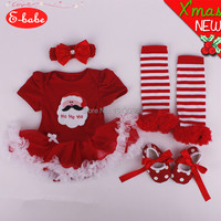 &E-babe&Wholesale Christmas Baby Girls Rompers Set  New Year Party  Casual Clothing Set Dress+Headdress+Socks+Shoes FreeShipping
