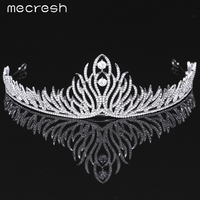 Mecresh Elegant Crystal Bride Tiaras Crowns Newest Style Plant Shape Silver Plated Wedding Hair Jewelry Party