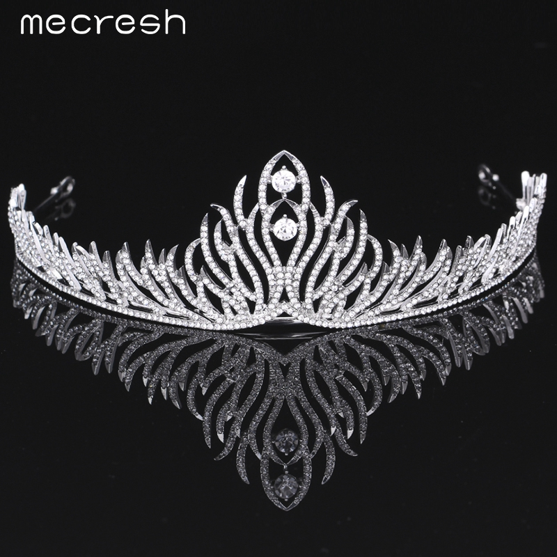 Mecresh Elegant Crystal Bride Tiaras Crowns Newest Style Plant shape Silver Color Wedding Hair Accessories Party Gift MHG074 03 red gold bride wedding hair tiaras ancient chinese empress hat bride hair piece