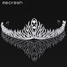 Mecresh Elegante Cristal Novia Tiaras Coronas Más Nuevo Estilo Planta forma Plateado Plata de la Boda Accesorios para el Cabello Partido Regalo MHG074