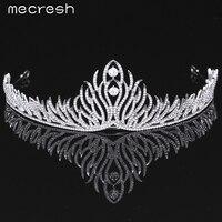 Mecresh Elegante Kristall Braut Tiaras Kronen Neueste Art Pflanze form Silber Farbe Hochzeit Haarschmuck Party Geschenk MHG074