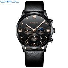Мужские часы с кожаным ремешком брендовые Роскошные многофункциональные наручные часы CRRJU 2159 светящиеся стрелки часов мужские erkek kol saati