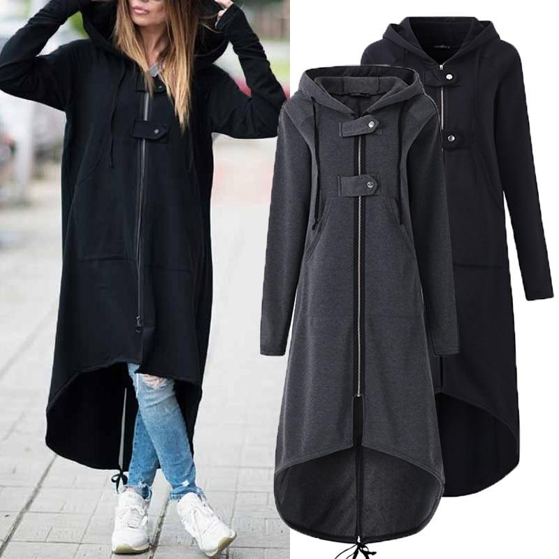 LOSSKY mode à manches longues à capuche Trench Coat 2018 automne noir Zipper grande taille 5XL velours Long manteau femmes pardessus vêtements