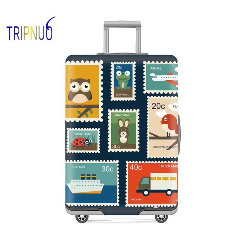 TRIPNUO Stamp Elastic Thickest Luggage Suitcase Protective Cover For19-32 Inch Protect Dust Bag Case Cartoon Travel Cover