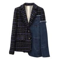 SuperAen New Arrival 2018 Plaid Blazer Women's Single Breasted Cashmere Plaid Wool Blazer Coat Suit Jacket Women