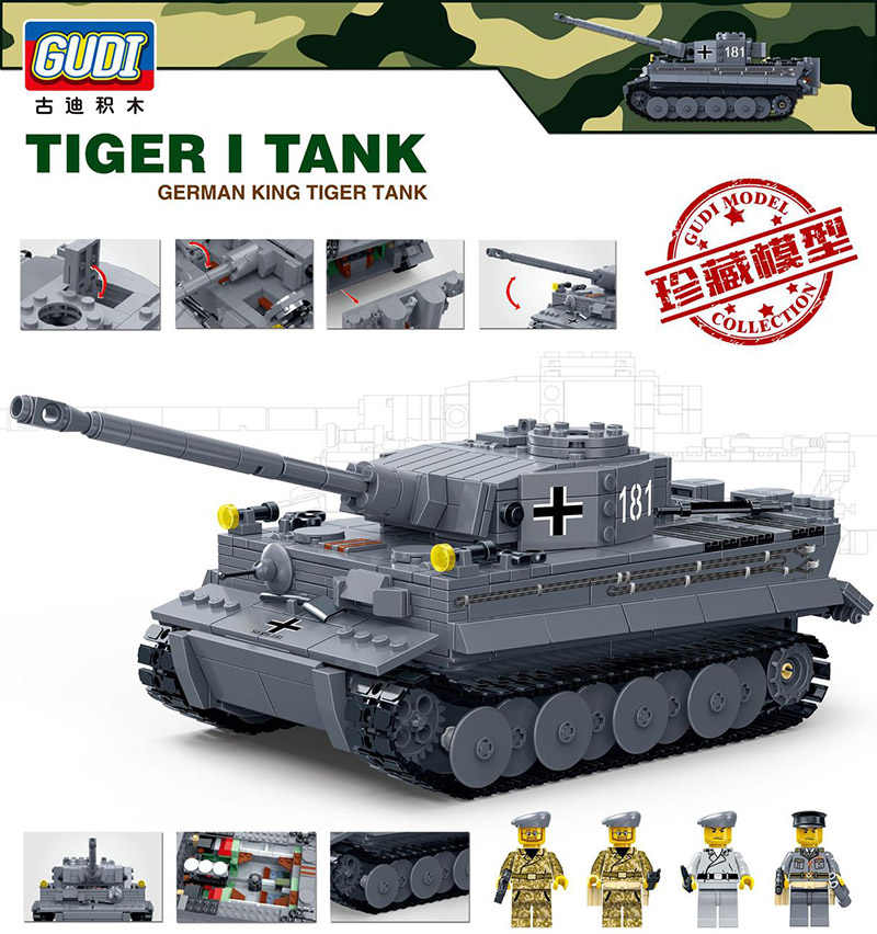 Compatible legoing Tank Tiger Century ww2 military army building blocks world war 2 ii sets Germany figure children toys