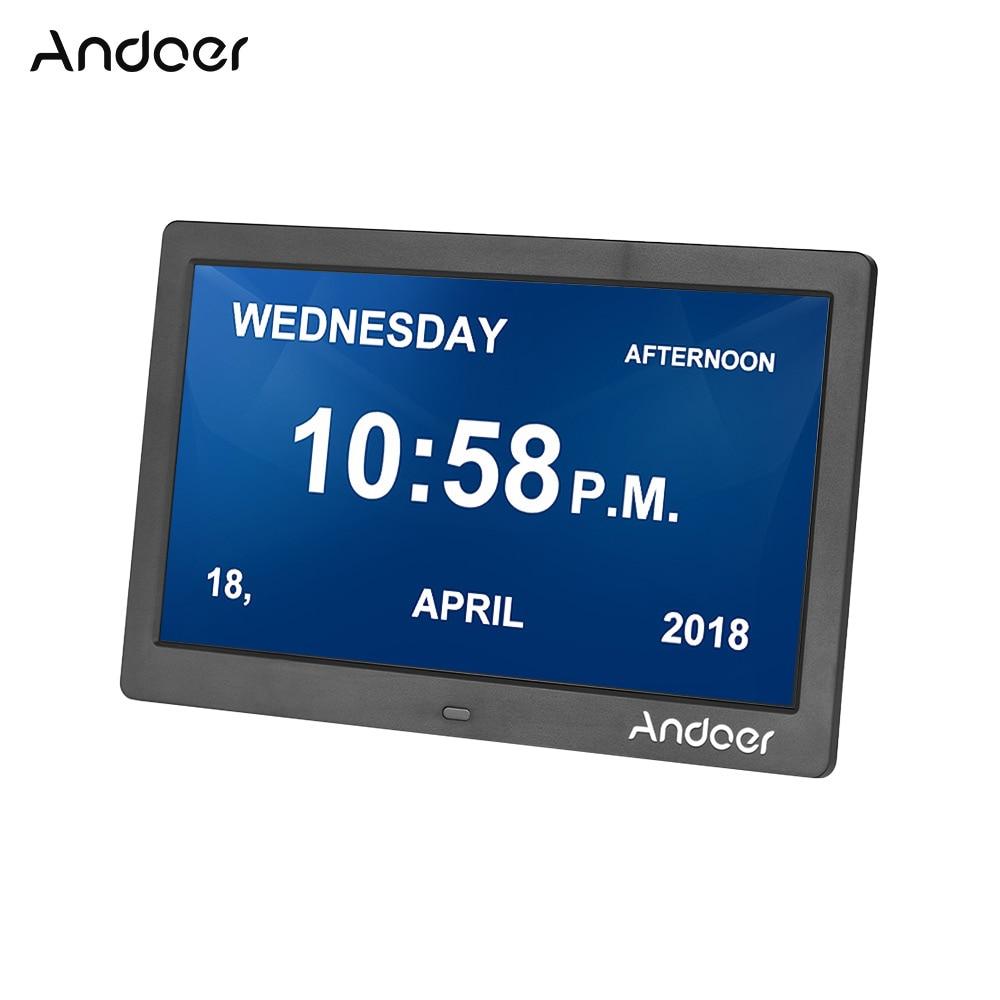 Andoer Digital Alarm Photo Frame LED Screen Simple Electronic Photo Album 10 Clock Calendar Music Photo