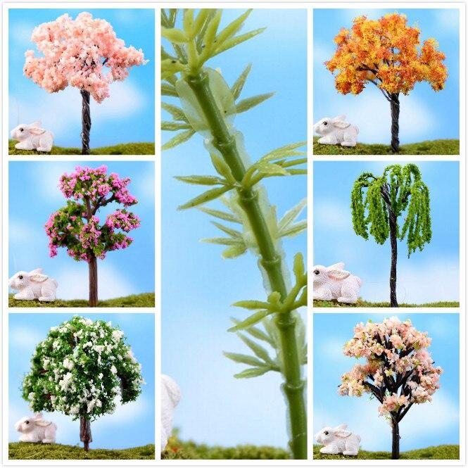 7-10cm Artificial Willow Trees Miniature Plants Fairy Garden Gnome Moss Terrarium Decor For Crafts Bonsai Bottle Garden