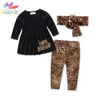 Belababy Baby Mädchen Kleidung Sets 3 STÜCKE Kleinkind Kinder Langarm Kleid + leopardenmuster Hosen + Kopfschmuck Herbst Mode anzüge Für Mädchen