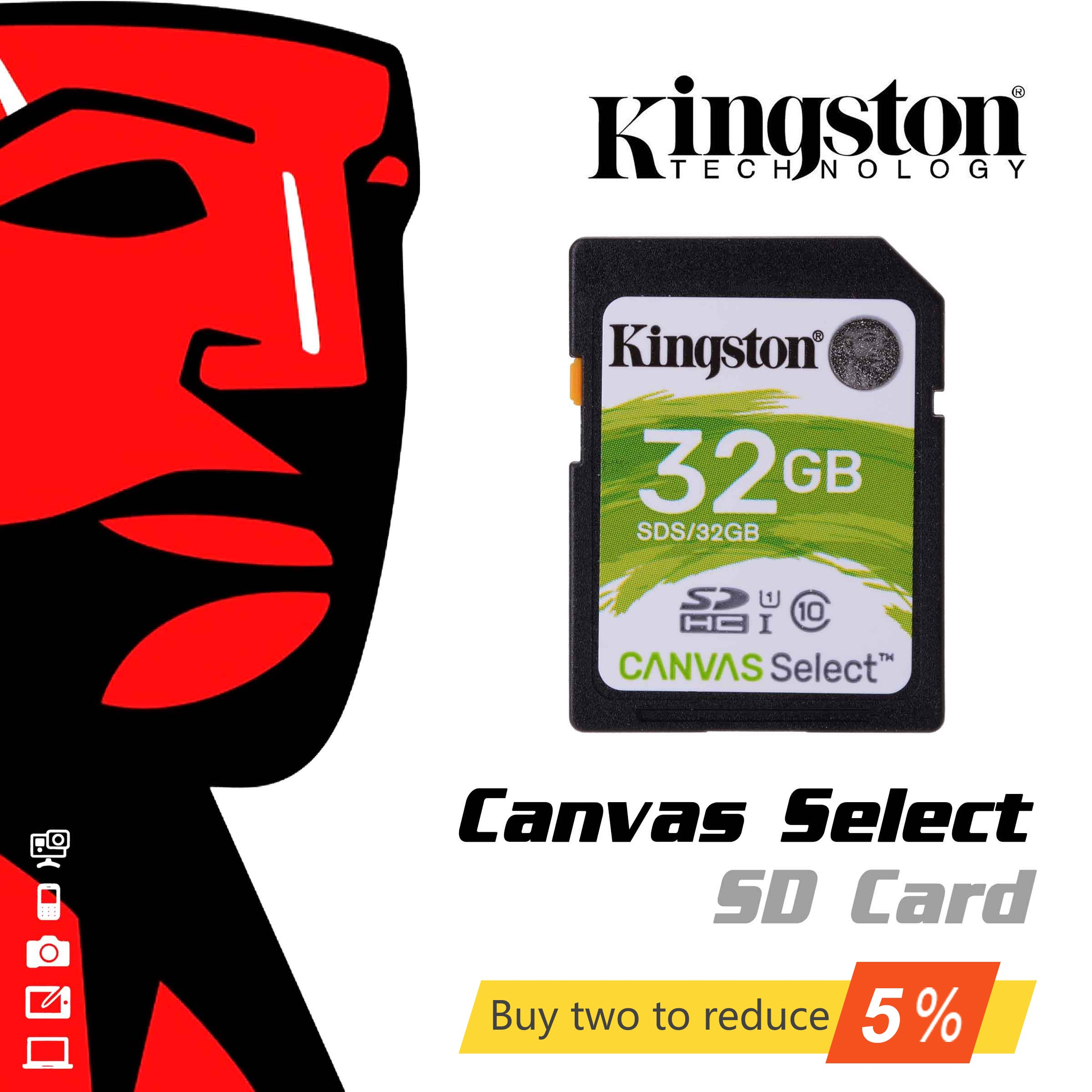 Original Kingston Memory Card 16gb 32gb 64gb 128g SD Card 10 Level Flash SDHC Card SDXC UHS-I Class 10  SD Card