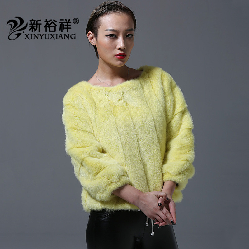 2018 New Full Pelt Mink fur coats for women casual O neck jackets Natural mink fur hem drawstring black yellow orange coats 219C