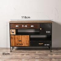 American Retro Country Drawer Cabinet Solid Wood Writing Desk Bookshelf Wine Rack Locker Handmade Wrought Iron Home Decoration
