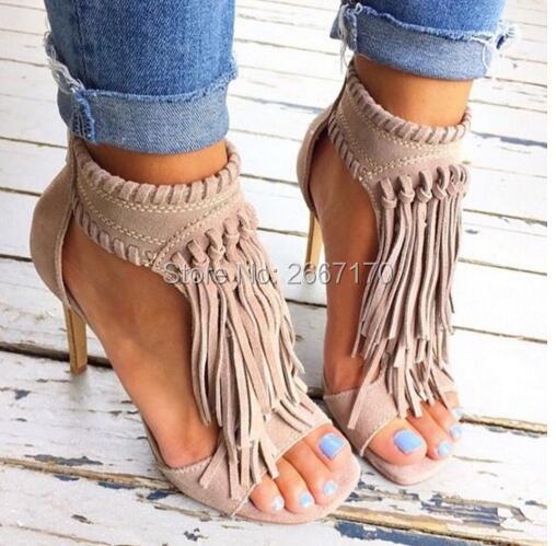 Suede As Zapatos Tan Shown Strappy Verano Sapatos Mujeres Loving Altos Mujer Cuero Sandalias Up Tacones Franja Bohemia Zip Borla Color wnqUSP