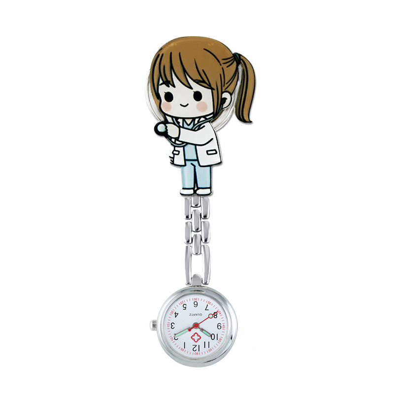 ALK Nurse Watches Quartz Pocket Fob Brooch Medical Watches Cartoon Cute Kawaii Patterns Hospital Doctor Clock Gifts Dropshipping