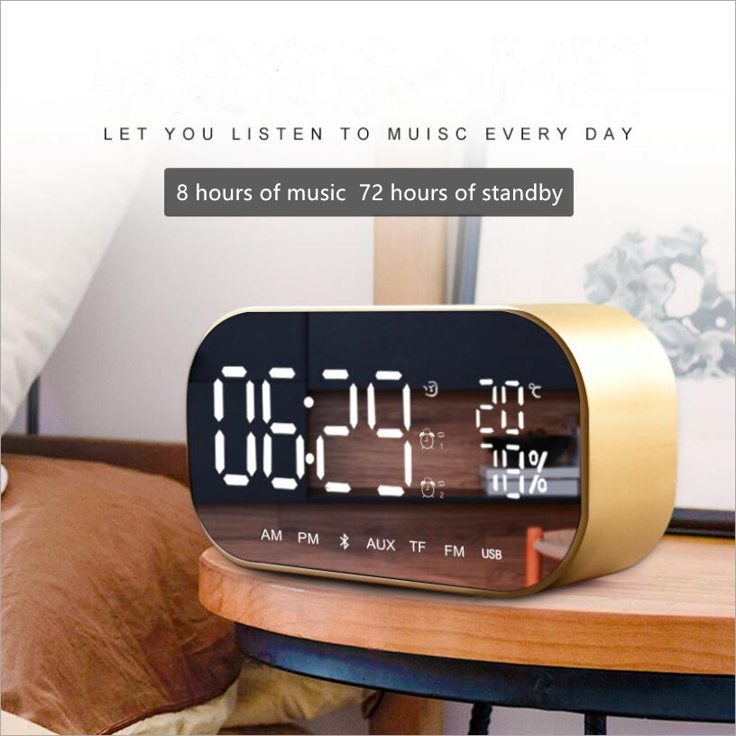 Desktop Simple Digital Music Player Led Wireless Bluetooth Dual Speaker Mirror Surface Alarm Clock Multi-function Music Clock