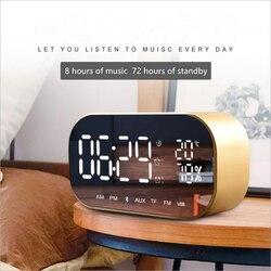 Desktop simples leitor de música digital led sem fio bluetooth duplo alto-falante espelho superfície despertador multi-função relógio de música