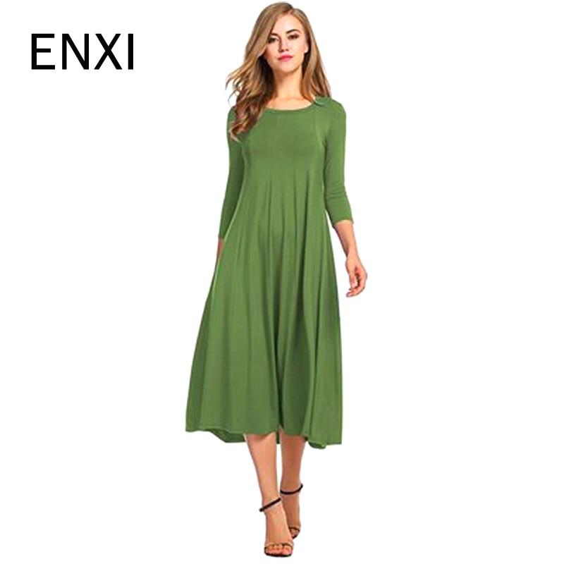 ENXI Solid Maternity Dresses Plus Size Pregnant Dress Spring Pregnancy Middle Dress Gravida Clothes For Pregnant Women
