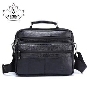 Image 1 - ZZNICK メンズメッセンジャーバッグ高級本革男性バッグデザイナー高品質ショルダーバッグカジュアルジッパー事務所バッグ男性