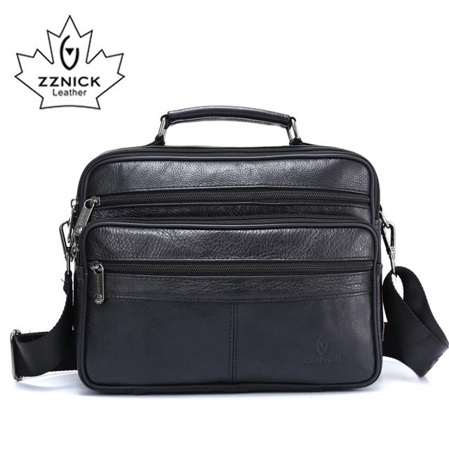 ZZNICK メンズメッセンジャーバッグ高級本革男性バッグデザイナー高品質ショルダーバッグカジュアルジッパー事務所バッグ男性