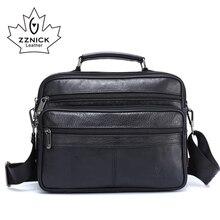 Zznick homens mensageiro sacos de couro genuíno luxo saco de designer de alta qualidade bolsa de ombro casual zíper sacos de escritório para homens