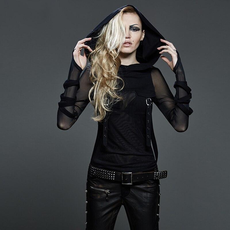 Maniche Lunghe T Aderente Di Cappuccio Modo Tee Moda Punk Casual Delle Donne shirt Stretch Gothic Camicette Magliette Traslucido Con Sexy Nero E 7SF0Pqpx