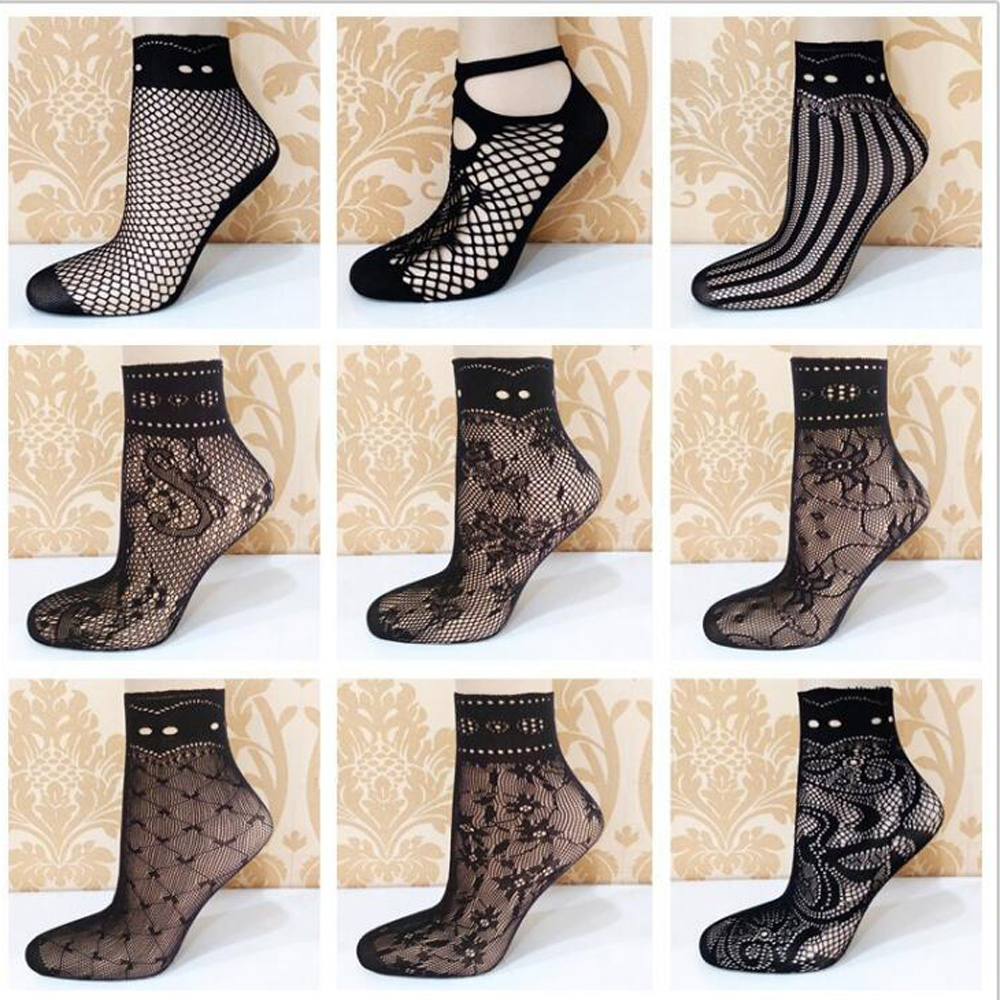 New 3 Pairs / Bag Fashion With High Quality Mesh Socks Thin Section Small Mesh Love Flowers Sexy Fishnet Socks Women's Art Socks