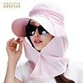 Mulheres Verão Chapéu de Sol Praia Cap Férias com Destacável Pescoço Aba de Aba Larga Máscara Facial Fresco FPU 50 + UV proteção