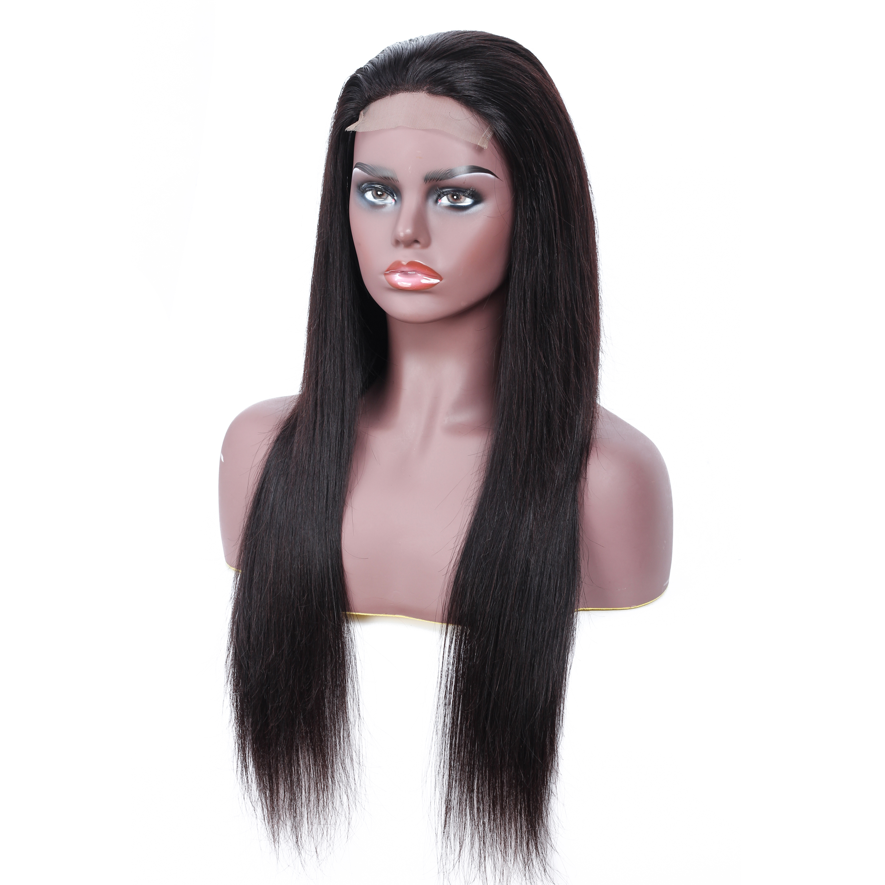 PHEBI 4 4 Lace Closure Human Hair Wigs Brazilian Hair Straight Wigs Non Remy Lace Wig