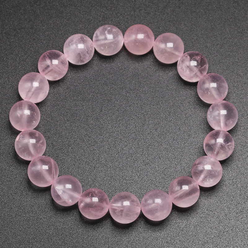 Natural Smooth Rose Quartz Energy Natural Stone Strench Bracelet Elastic Fine Jewelry Beads Lovers Women Handmade Gift