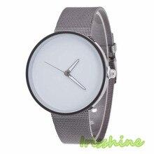 Irisshine i0604 Мужские Женские Унисекс из металлической сетки ремешок моды кварцевые наручные часы пару часов подарок