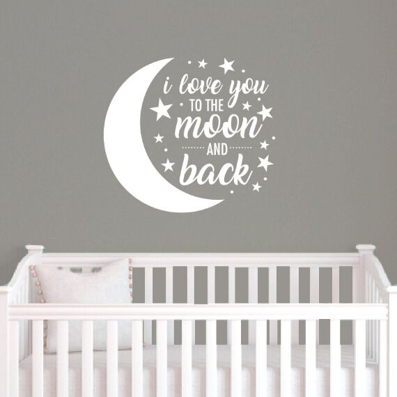 I love you to the moon and back Quote Canvas Print For Nursery Room Decoration