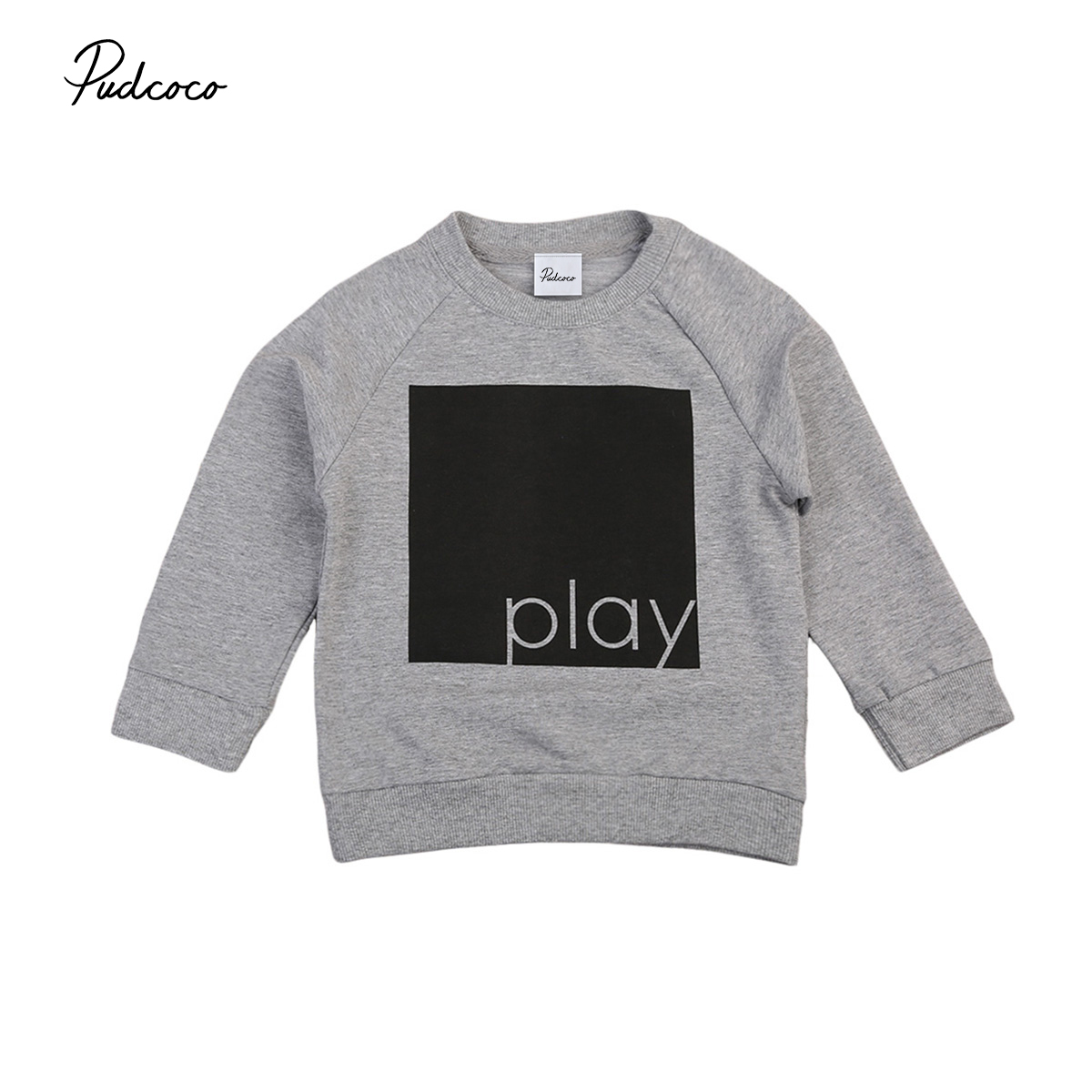 New Autumn Winter Kids Baby Boy Girl Clothes Long Sleeve Sweatshirt Jumper Warm T-shirt Tops Pullover Letter Print Tops 1-6Y