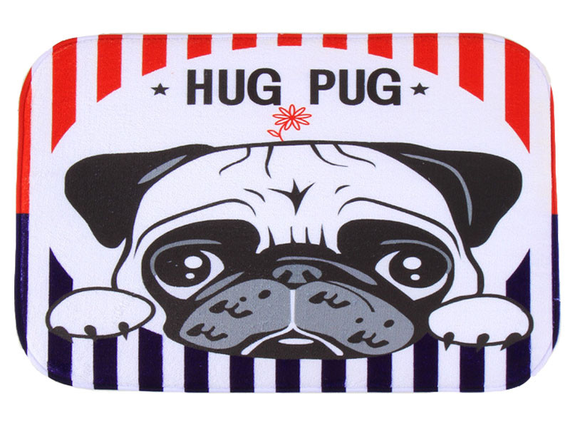 Bath Mat Cute Pug Printing Suede Non Slip Absorbent Shower Bathroom Mat For Toilet  Rugs Kitchen Floor Mat alfombras tapis