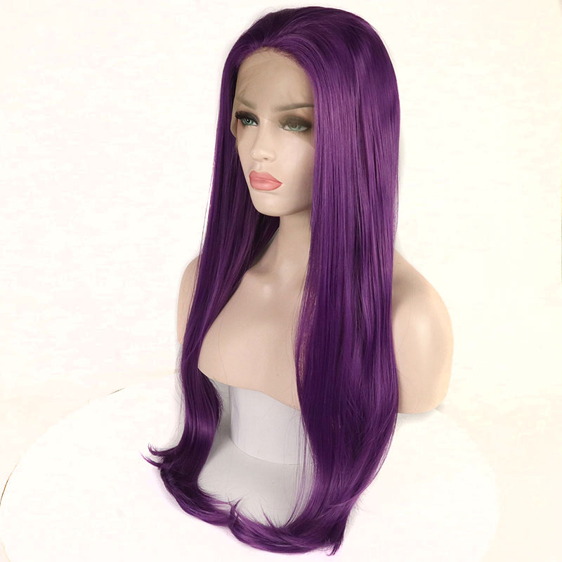 Bombshell High Temperature Fiber Natural Hairline Layered Straight Free Part Purple Synthetic Lace Front Wig For