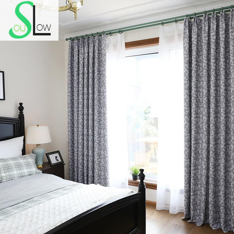 Slow Soul Blue Coffee Cream High Precision Printing Shade Curtains Printed Geometric Cortinas For Living Room Kitchen Bedroom