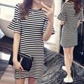 Striped T-shirt Women O-Neck Short Flare Sleeve T-shirt Loose Female T-Shirt For Women Ladies Wear Shirt Woman T-shirt Top