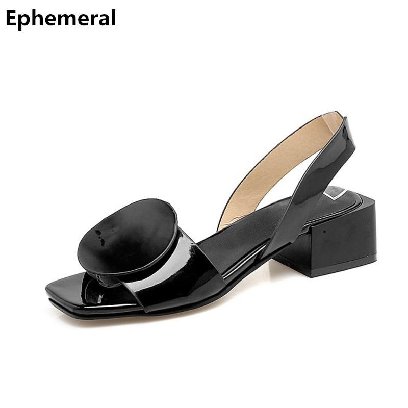 Ladies back strap medium heels sandals square heel font b shoes b font open toe black