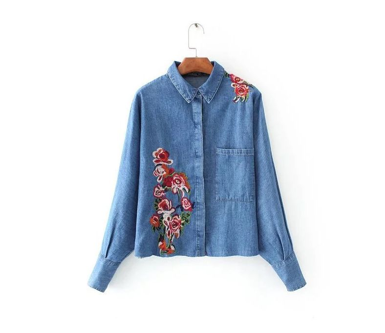Las mujeres Camisa de Mezclilla Bordados con Flores de