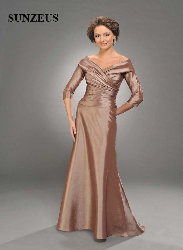 Long Taffeta Mother Of The Bride Dress Simple Elegant A line V neck Off  Shoulder Party Gowns vestido madrina largos CM021-in Mother of the Bride  Dresses ... 5591faca204c